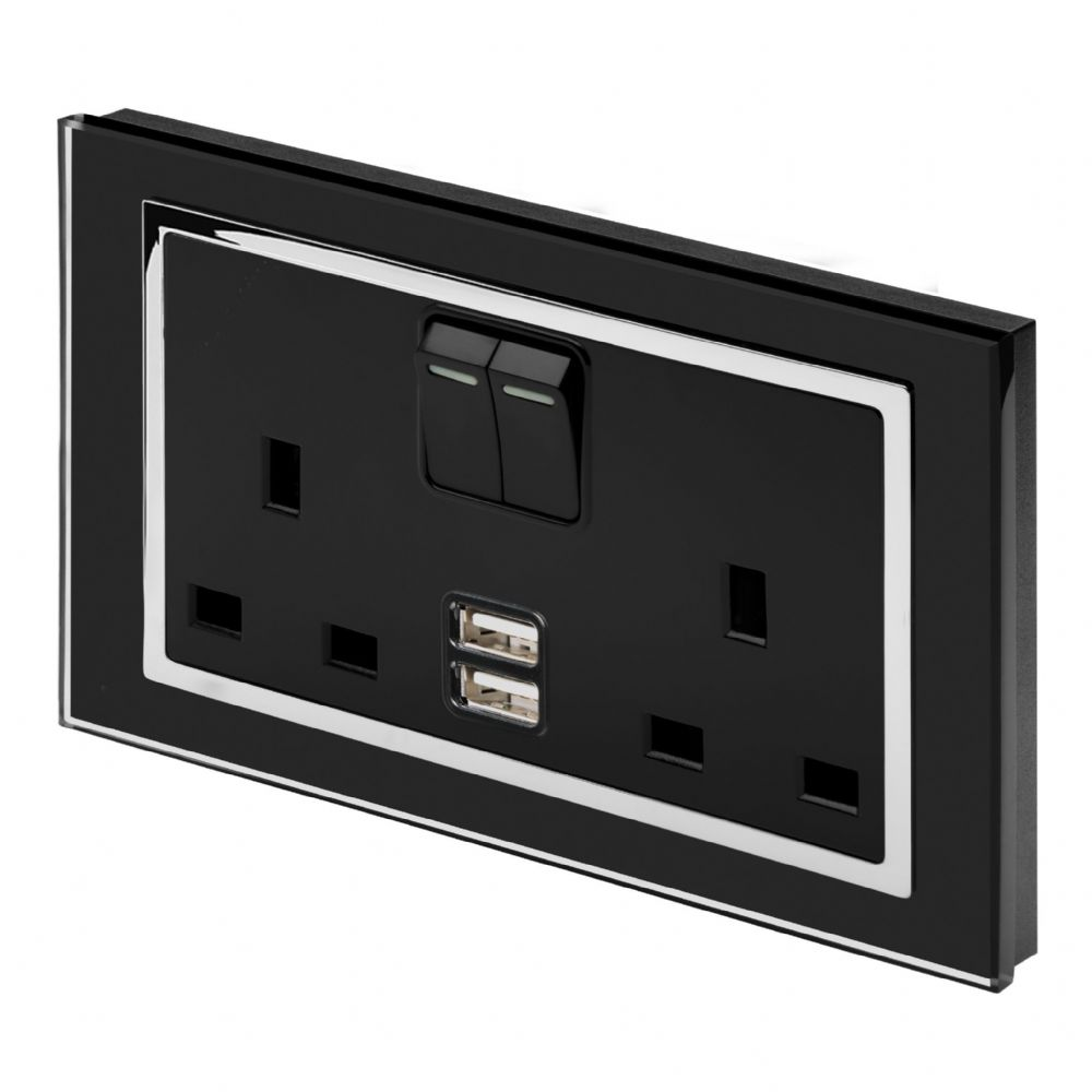 RetroTouch Double Switched 13A Plug Socket 2.1A USB Black Glass CT 00663